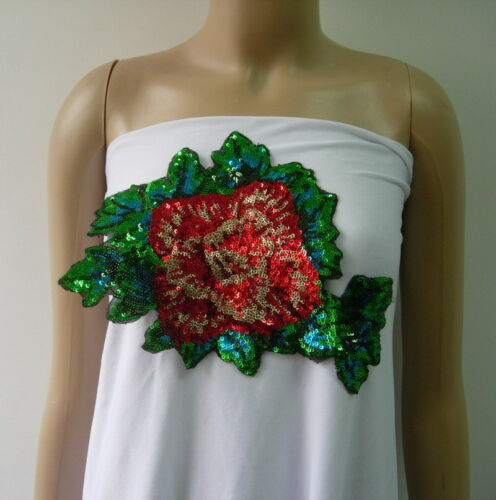 VF209 Glitter Rose Peony Leaf Embroidered Sequin Applique Motif Chic//Fashion