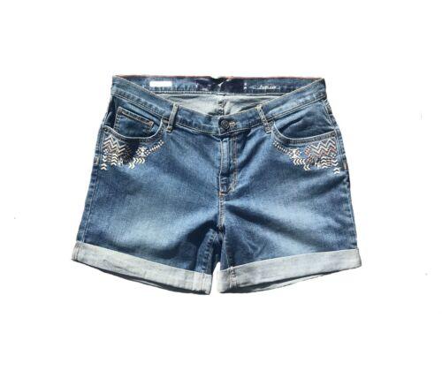 Da Donna Pantaloncini Di Jeans Boyfriend Fit Coscia Lunghezza blu NUOVA L DONNA EX Branded