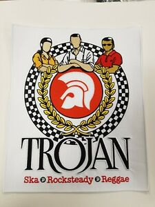 TROJAN ROCKSTEADY LARGE REGGAE SKINS Oi! BACK PATCH MODS SCOOTERS SEW IRON ON