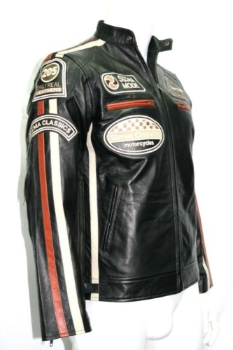 Sizma Men/'s Classic Biker Motorcycle Fitted Style Black Soft Napa Leather Jacket