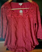Meadow Rue Anthropologie Melange Lace Wine Blouse Top M Peasant Crochet Knit