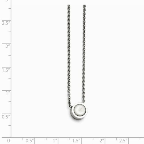 Chisel Stainless Steel Polished Bezel Mother of Pearl Necklace MSRP $42