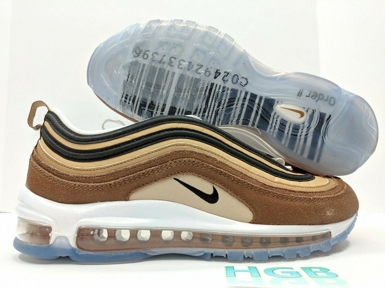 Nike Air Max 97 Mens Barcode Shipping Box Brown gold Running shoes 921826-201 NIB