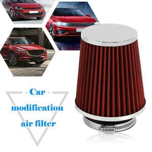 Filtre-a-air-de-voiture-universel-rond-et-conique-Admission-d-039-air-froid-rouge