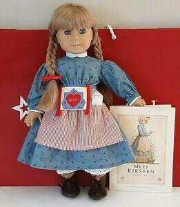 American-Girl-Doll-KIRSTEN-WHITE-Body-Pleasant-Company-Book-amp-AG-Hanger