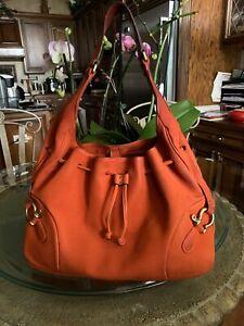 Beautiful-BURBERRY-Nubuck-Leather-Red-Orange-Horse-Bit-Hobo-Handbag-Italy