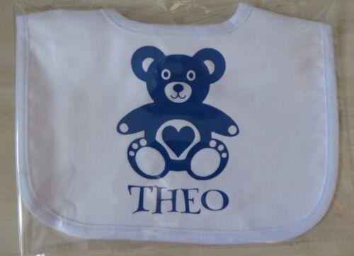Funny Bibs TEDDY BEAR Bib Any Colour /& Name Personalised Vinyl Toddler Bib