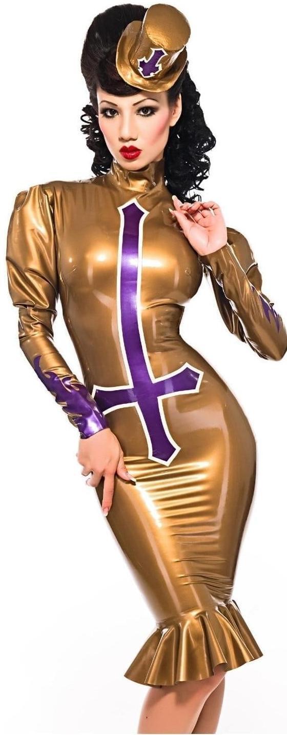 Westward Bound Petrine Cross Latex Dress P.S gold with P.S Purple Trim