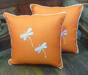 Cotton-Cushion-Covers-Orange-White-Hand-Made-Dragonfly-Embroidery-pair-40cm