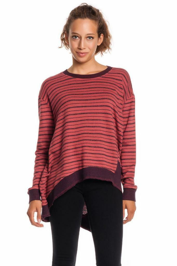 Wilt Big Slant Sweatshirt CLAY 591072 Striped Long Sleeves Sweater Hi Low High