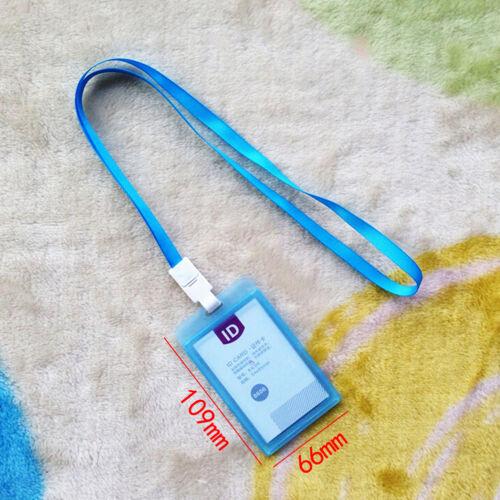 1x porte-cartes d/'identité en plastique étui porte-badge avec lanière de coll X3