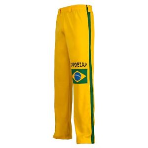 Unisex Brazil Flag Green Yellow Capoeira Martial Arts Sport Cord Trousers Pants