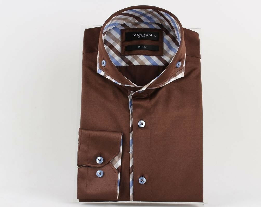 SL 5655 Men's brown double collar long sleeved shirt