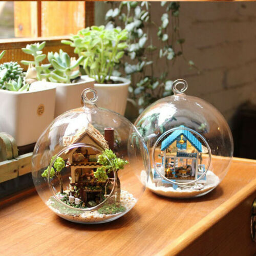 Pack of Glass Baubles Tea Light Holder Fillable Hanging Table Christmas Decor
