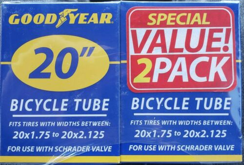 "2 Pack Official Goodyear 20/"" X 1.75/"" Vélo 2.125/"" Tube Neuf en boîte scellée"