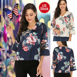 US-Womens-Summer-Casual-Top-Blouse-Floral-Print-3-4-Bell-Sleeve-Mesh-Panel-Shirt