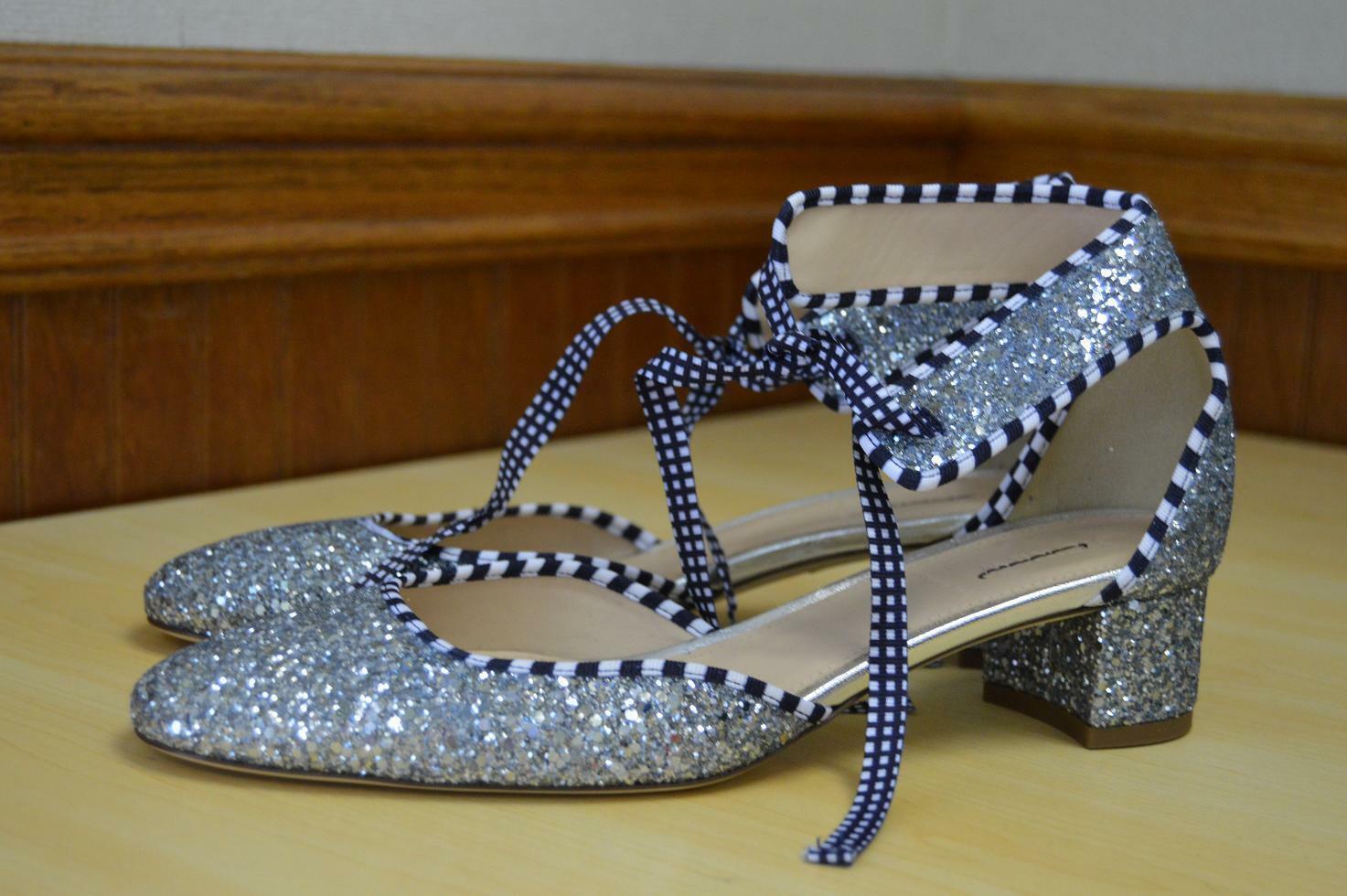 J.Crew  238 Glitter Ankle Tiolo Heels 8.5 Scarpe argento Block New Sparkle G0931