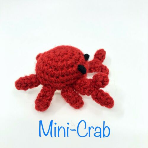 Crocheted Mini Crab Amigurumi Cute Pocket Sized Stuffed Toy Knit Needled Wool