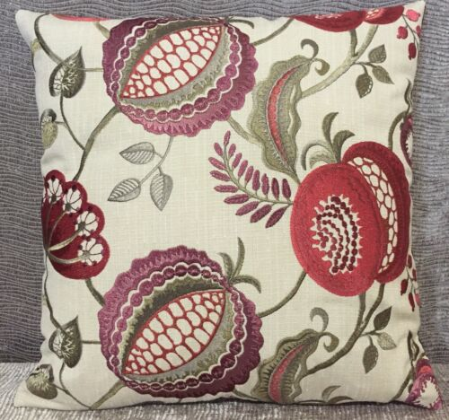 ILIV Figs And Strawberry In Ruby Cushion Cover 16x16 Heavily Embroidered