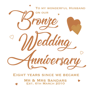 Details about Personalised 10th Bronze Wedding Anniversary Card Husband Wife  Son Daughter