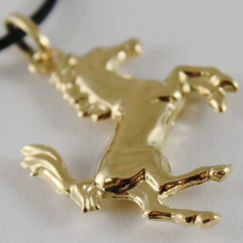 18K YELLOW GOLD ROUNDED HORSE PENDANT CHARM 32 MM SMOOTH BRIGHT MADE IN ITALY