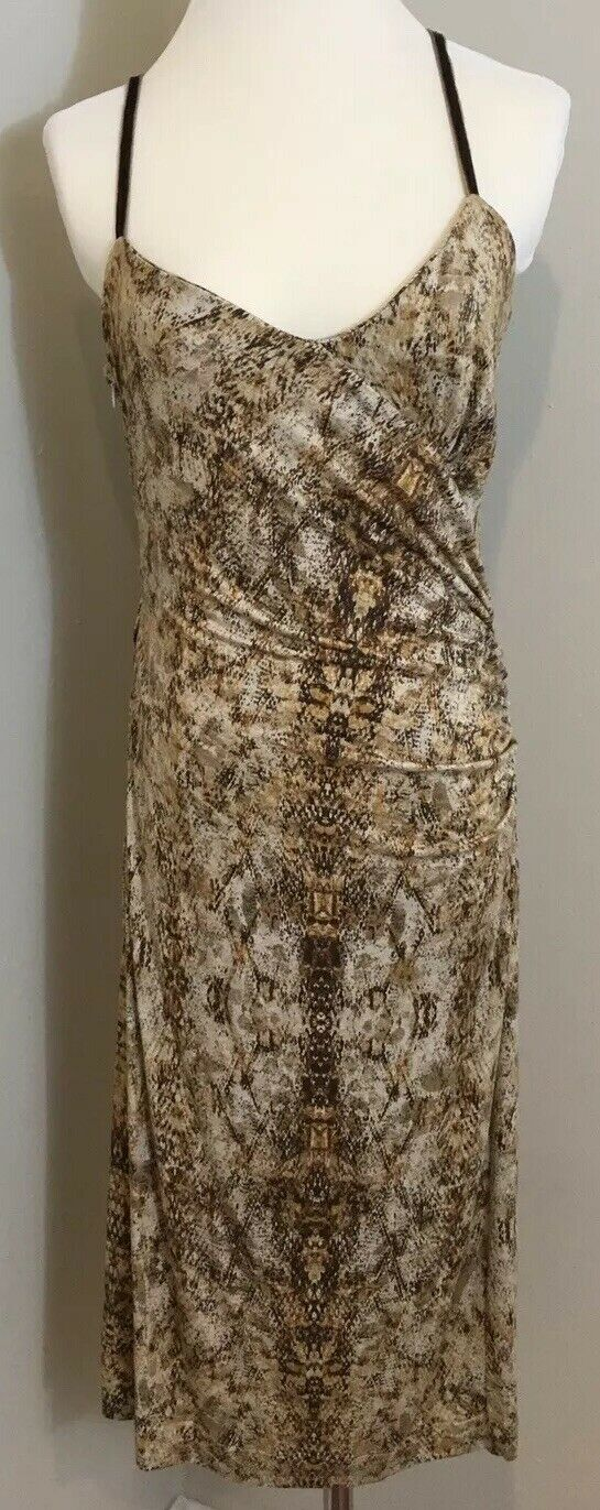 79.90 MNG By Mango Dress Size XL Snakeskin Print Ruched Brown NWT