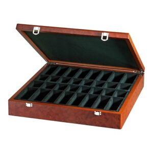 Boîte De Pièces D'échecs Exclusif - Ronce Avec Compartiments Individuels