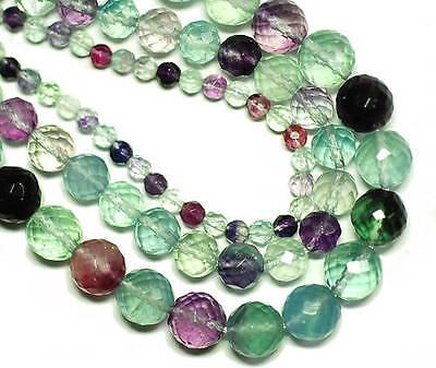 Regenbogenfluorit Perle Kugel facettiert lila grün transparent 6-10 mm, 1 Strang