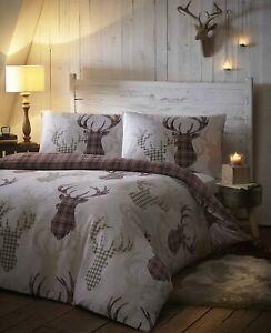 Brown Natural Tartan Check Stag Winter Christmas Single Duvet Cover Bedding Set Ebay