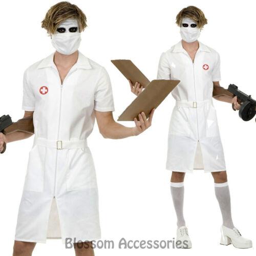 I93 Mens Twisted Joker Nurse Scary Zombie Halloween Fancy Dress Party Costume