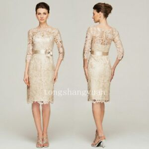 Mother-Of-The-Bride-Dresses-3-4-Sleeve-Lace-Ivory-Formal-Gowns-Plus-Sizes-Custom