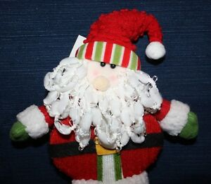 "Lot of 6 NWT 12"" Plush Fabric Santa Claus Figure Bean Bag Feet & Floss Beard"