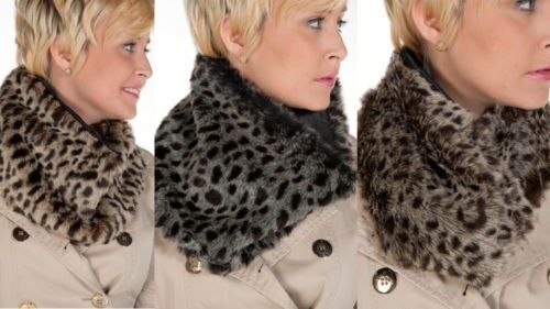 New 1X Ladies Animal Skin Faux Fur Neck Warmers In 3 Colour