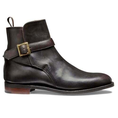 Mann handgemachte Stiefel aus echtem Leder schwarz Wildleder Knöchel Schnalle Armband formale Schuhe