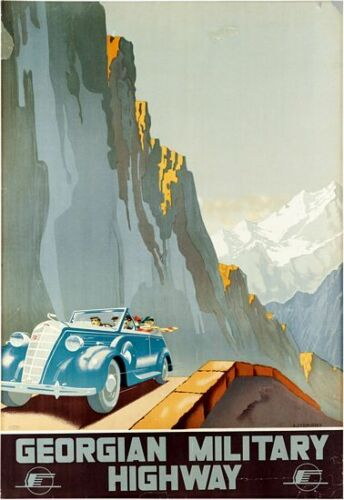 Vintage USSR Georgian Military Highway Tourism Poster A3 Print
