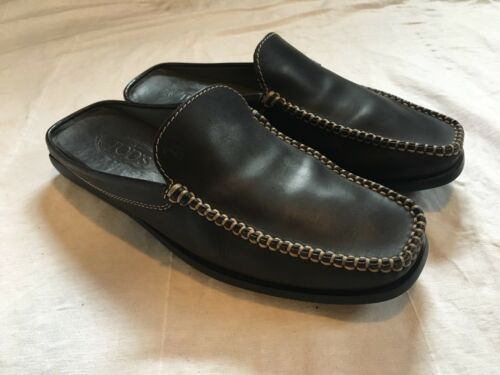 TODS Brown Leather Loafers Mules Shoes Slip On Sz