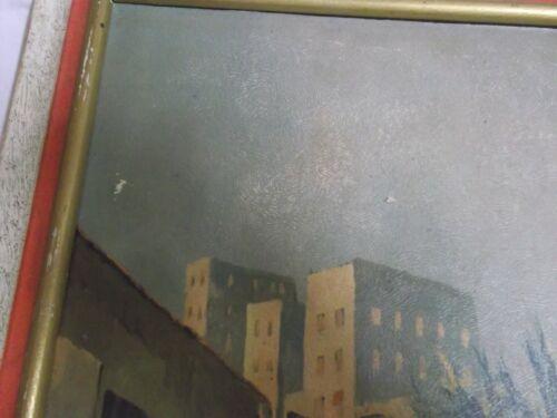 Vecchia restaurando firmato immagine con telaio in legno CASABLANCA MAROCCO 53x45 antico