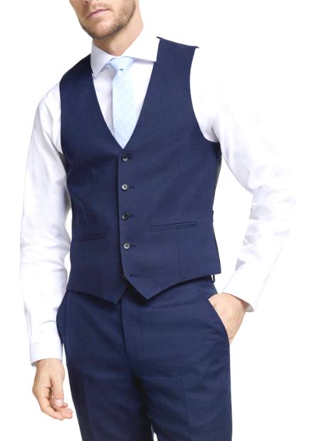 John Lewis Mens Birdseye Wool Waistcoat , Blue rrp