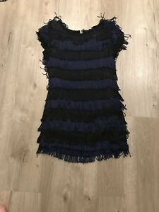 French Connection Blue amp Black Tassel Layered Dress Size 10 - London, United Kingdom - French Connection Blue amp Black Tassel Layered Dress Size 10 - London, United Kingdom