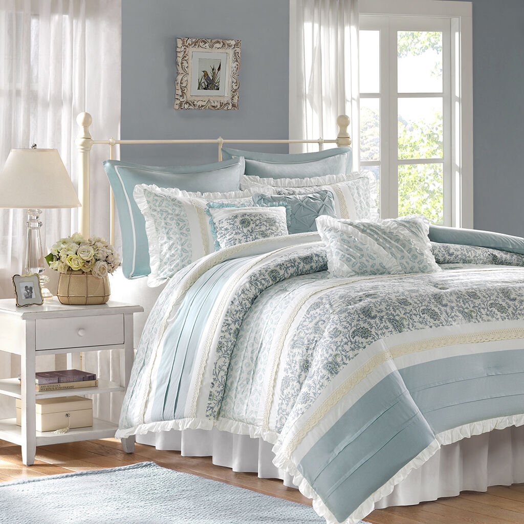Soft Blau Weiß Embroidery Lace Cotton Comforter Set 9 pcs Queen Cal King