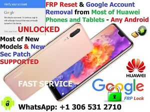 Details about FRP Reset Google Account Removal Huawei P30, P20, P10 Nova  Mate Pro 100% Success