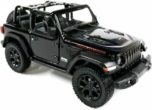 """2018 Jeep Wrangler Rubicon Convertible Black Diecast Model Toy Car 1:34 Scale 5"""""""