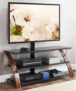 Flat Panel Tv Stand Brown Cherry Wood Glass Shelves 65 Inch Modern