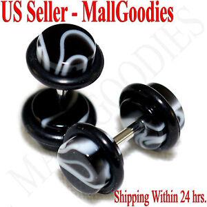 2020-Black-Marble-Fake-Cheater-Illusion-Faux-Ear-Plugs-16G-Bar-2G-6mm-2pcs