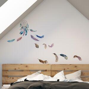 Wandsticker Wandtattoo Aufkleber Federn Traumfanger Dreamcatcher Ebay