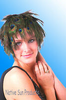 Wig Natural Peacock Eye Feathers Halloween Costume Punk Retro