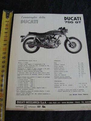 Cooperativa Foglio Pubblicitario Moto Ducati 750 Gt Brochure Ultimo Stile