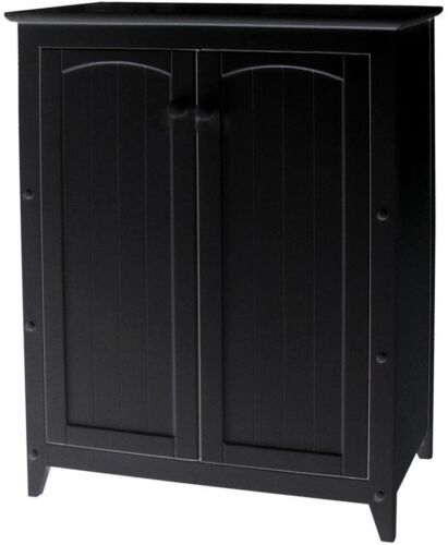Double Door Wide Wood in Black Finish with 2-Shelves Storage Cabinet 28 1//2 in