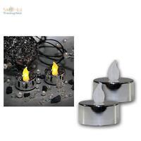 2er Set LED Teelichter silbermetallic flackernd Teelicht elektrisch Kerze Kerzen