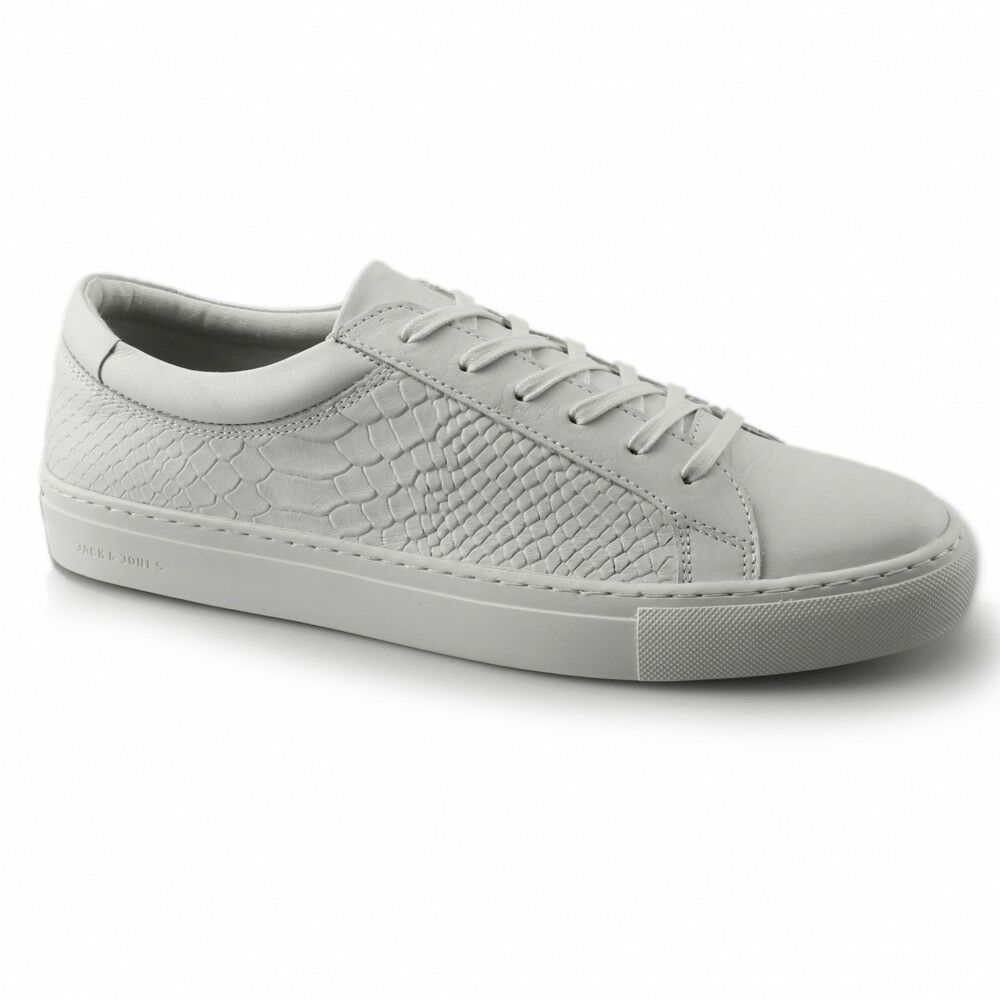Jack & Jones GALAXY Mens Leather Lace Up Reptile Effect Trainers Bright White